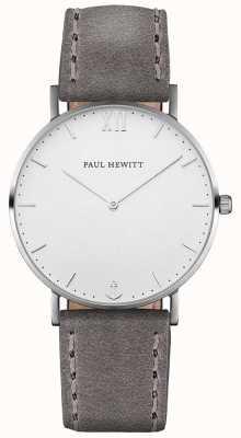 Paul Hewitt Мужской кожаный ремешок из серого моря PH-SA-S-ST-W-13M