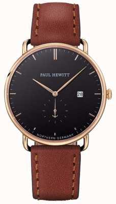 Paul Hewitt Мужчины большой атлантический коричневый кожаный ремешок PH-TGA-G-B-1M