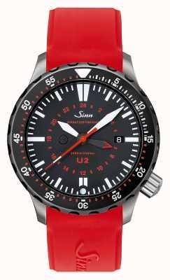 Sinn U2 sdr u-boat сталь миссия таймер дайвер красный силикон 1020.040