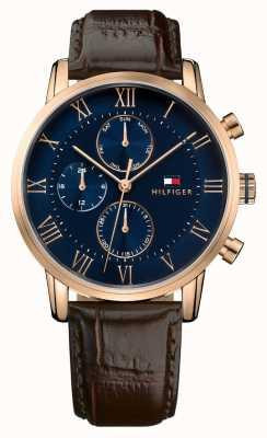 Tommy Hilfiger Кейн хронограф синий циферблат коричневый кожаный ремешок 1791399