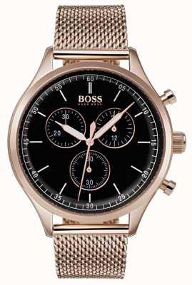 Hugo Boss Мужской сопутствующий хронограф розового золота сетчатый браслет 1513548
