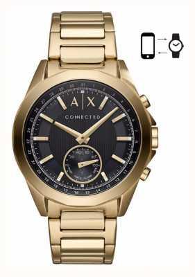 Armani Exchange Мужские гибридные смарт-часы золотой тон браслет черный циферблат AXT1008