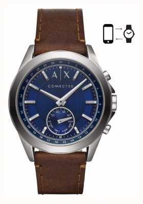 Armani Exchange Мужские гибридные смарт-часы коричневый кожаный ремешок синий циферблат AXT1010
