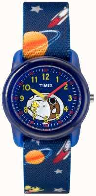Timex Молодой аналог синий ремешок snoopy космическое пространство TW2R41800JE
