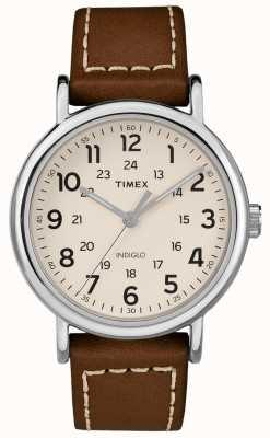 Timex Мужской белый коричневый кожаный ремешок белый циферблат TW2R42400