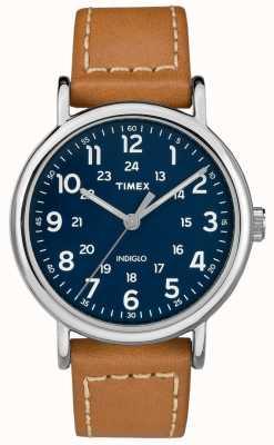 Timex Мужская кожаный ремешок из черного кожаного ремешка TW2R42500D7PF