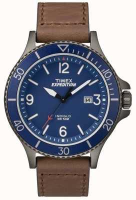 Timex Экспедиционный рейнджер коричневый кожаный ремешок синий циферблат TW4B10700