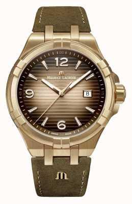 Maurice Lacroix Мужские старинные кожаные часы Aikon AI1028-BRZ01-720-1