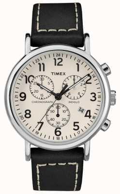 Timex Мужской женский хронограф черного кожаного ремешка TW2R42800D7PF