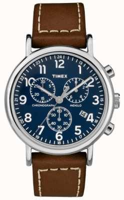 Timex Мужские часы с хронографом из коричневой кожи TW2R42600D7