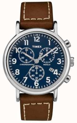 Timex Мужской хронограф Weekender коричневый кожаный ремешок TW2R42600D7