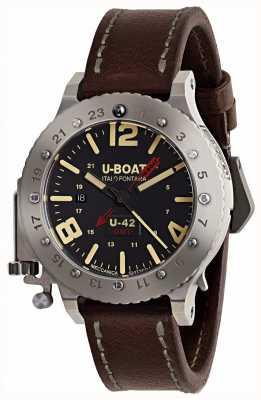 U-Boat Лимитированный ремень u-42 gmt 50мм коричневый кожаный ремешок 8095