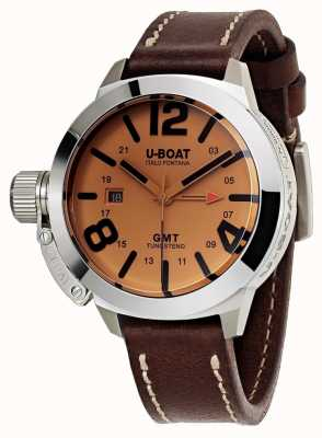 U-Boat Classico 45 gmt - кожаные часы с автоматической коричневой кожей 8051