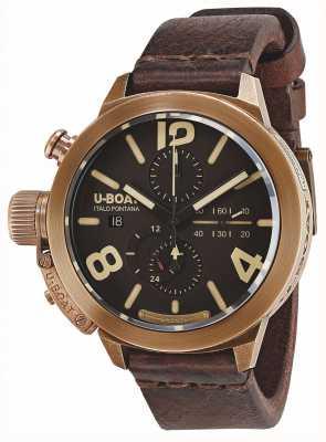 U-Boat Классический 50 бронзовый автоматический коричневый кожаный ремешок 8064