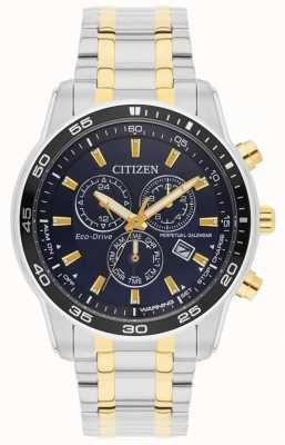 Citizen Мужские | эко-драйв | часы из нержавеющей стали и золота с голубым циферблатом и IP-адресом BL5514-53L