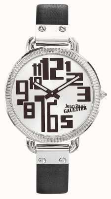 Jean Paul Gaultier Черный черный кожаный ремешок серебристый циферблат JP8504305