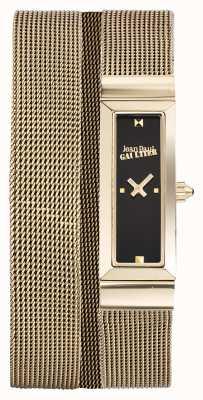 Jean Paul Gaultier Женщин cote de maille gold pvd сетчатый браслет черный циферблат JP8503903