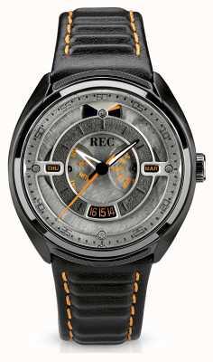 REC Porsche автоматический черный кожаный ремешок серый циферблат p-901-03
