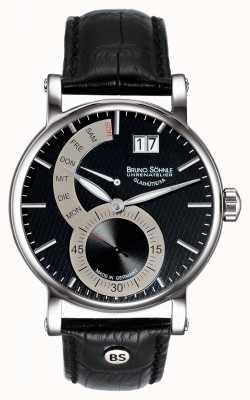 Bruno Sohnle Pesaro ii 43мм черные кожаные часы 17-13073-781