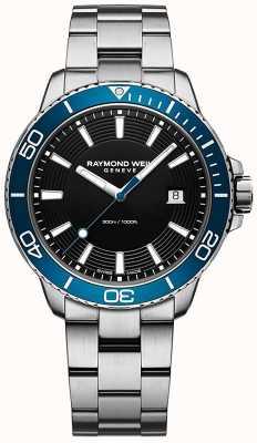 Raymond Weil Часы из нержавеющей стали с синим ободком Tango 8260-ST3-20001