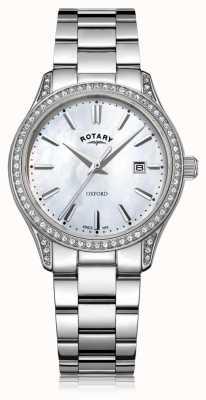 Rotary Женские оксфордские белые кварцевые часы из нержавеющей стали LB05092/41