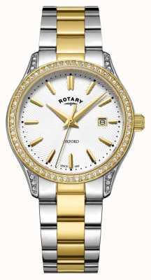 Rotary Женские оксфордские двухтональные кварцевые часы из нержавеющей стали LB05093/02