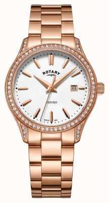 Rotary Женские оксфордские розовые часы из нержавеющей стали из кварца LB05096/02