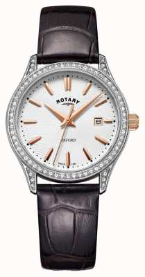 Rotary Женские оксфорд кожаный ремешок из нержавеющей стали кварцевые часы LS05092/02