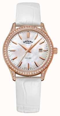 Rotary Женские оксфорд кожаный ремешок розового золота кварцевые часы LS05096/41