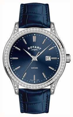 Rotary Женские оксфорд кожаный ремешок синие кварцевые часы LS05092/05
