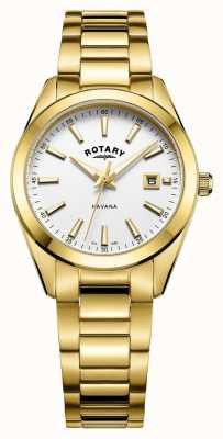 Rotary Женские гаванские позолоченные белые часы LB05081/02