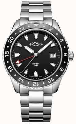 Rotary Мужские черные черные кварцевые часы из нержавеющей стали GB05108/04