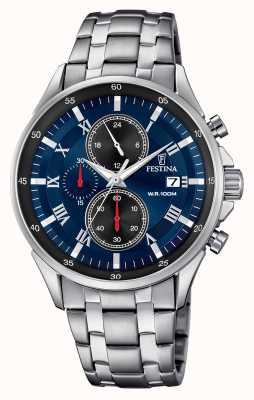 Festina Часы с хронографом синий браслет из нержавеющей стали F6853/2