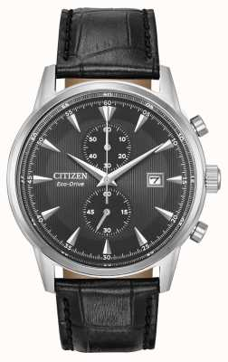 Citizen Мужская наручная хронограф черный кожаный ремешок черный циферблат CA7000-04H