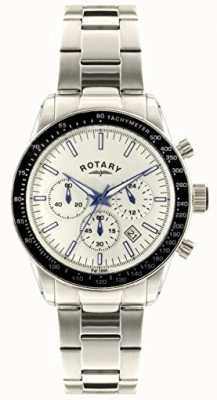 Rotary Мужской хронограф из нержавеющей стали, браслет белого цвета GB00470/01