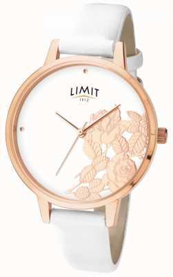 Limit Женщин плоский блеск белый цветочный циферблат 6290.73