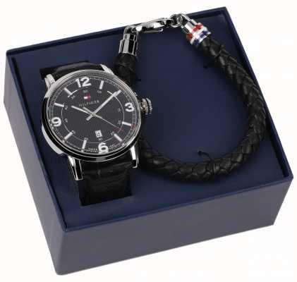 Tommy Hilfiger Мужские кожаные часы и комплект браслетов 2770026