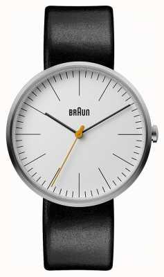 Braun Мужской классический белый циферблат черный кожаный ремешок BN0173WHBKG