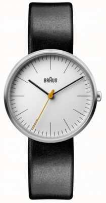 Braun Женский классический белый циферблат, черный кожаный ремешок BN0173WHBKL