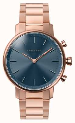 Kronaby 38mm carat bluetooth розовый золотой браслет синий циферблат smartwatch A1000-2445