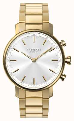 Kronaby 38mm carat bluetooth золотой браслет серебристый циферблат smartwatch A1000-2447