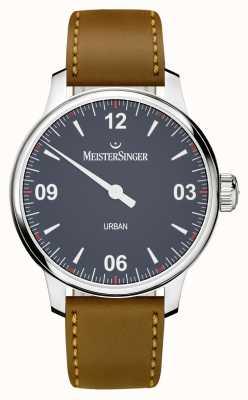 MeisterSinger Городской сине-коричневый кожаный ремешок UR908