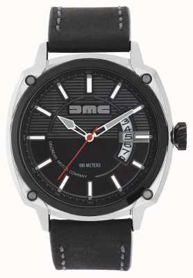 DeLorean Motor Company Watches Alpha DMC черный кожаный ремешок черный циферблат DMC-1