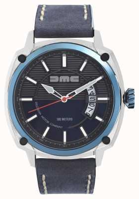 DeLorean Motor Company Watches Alpha DMC синий мужской серый кожаный ремешок синий циферблат DMC-2