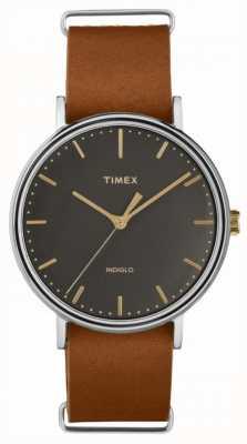 Timex Фейрфилд 41мм коричневый кожаный ремешок хромированный чехол TW2P97900