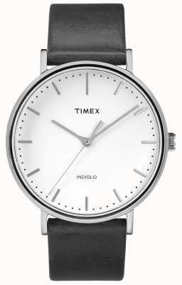 Timex Фейрфилд 41мм черный кожаный ремешок / белый циферблат TW2R26300
