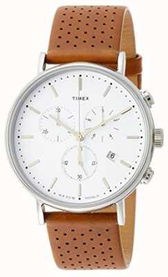 Timex Фейрфилд хроно коричневый кожаный ремешок / белый циферблат TW2R26700