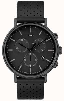 Timex Фейрфилд хроно черный кожаный ремешок / черный циферблат TW2R26800