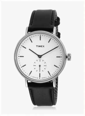 Timex Fairfield sub-second silvertone case белый циферблат черный ремешок TW2R38000