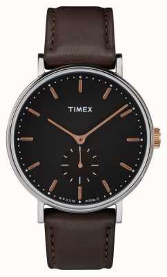 Timex Шкатулка Fairfield silvertone с черным циферблатом и коричневым ремешком TW2R38100